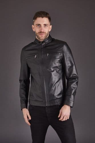 Men's Leather Coat in Black